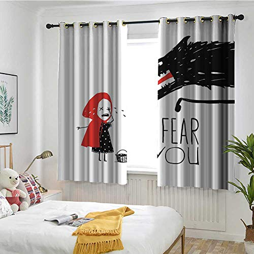 MaryMunger Wolf Grommet Curtains Fairy Tale Design with Little Girl Colorful Scarf Big Scary Animal Sketch Style Curtains for Living Room W 55
