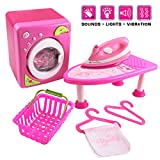 deAO Laundry Cleaning Playset Wash Day Launderette Washing Machine & Iron Set with Sound and Lights Includes Accessories