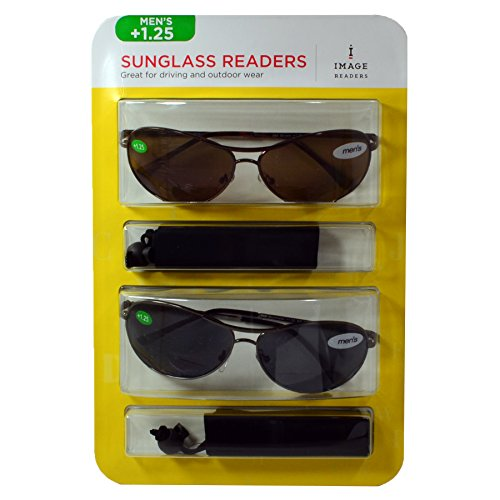2-Pack Image Men's Sunglass Bifocal Readers +1.25 (Brown and Black - Ray Bans Cheap Aviators
