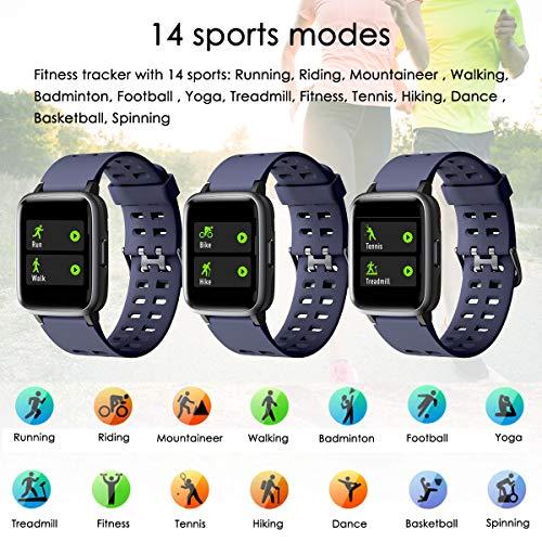 LATEC Pulsera Actividad Reloj Inteligente Impermeable IP68 Smartwatch Pantalla Táctil Completa con Pulsómetro Cronómetro Pulsera Deporte para Hombres Mujeres Niños con iOS y Android 5