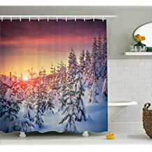 Winter Decorations Shower Curtain by Ambesonne, Snowy Landscape at Gloomy Sunrise Light in Mountain Forest Serene Photo, Fabric Bathroom Decor Set with Hooks, 75 Inches Long, White Red