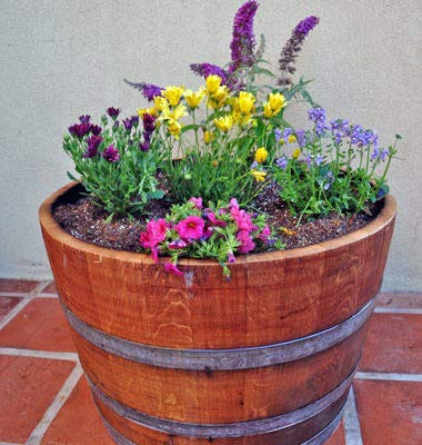 Lacquer Finished Oak Wood Half Wine Barrel, 27'' W x 16'' H by Master Garden Products (Image #3)