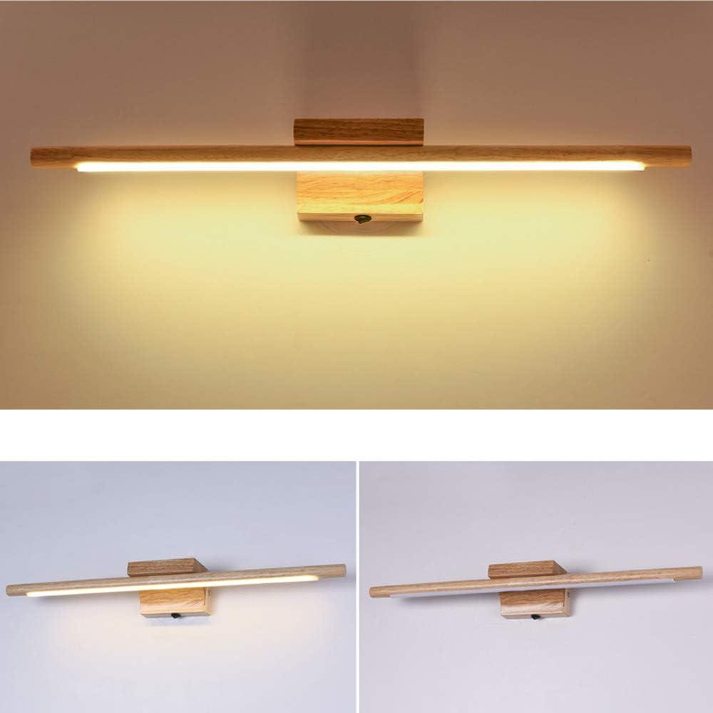60cm//10W,Coldwhite LED Holz Spiegelleuchten Wasserdicht Beleuchtung Badezimmer Schminklicht FFDCC Bad Wandleuchte mit Schalter