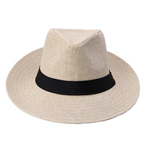 1pcs New Unisex Wide Brim Trilby Straw Cap Sun Hat Beach Summer (beige)
