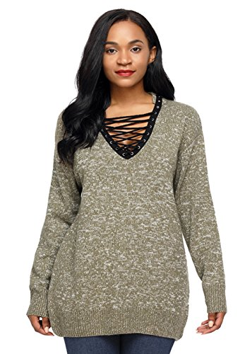 Huusa Sexy Womens Lace up Neck Long Sleeve Pullover Knitted Sweater L Olive