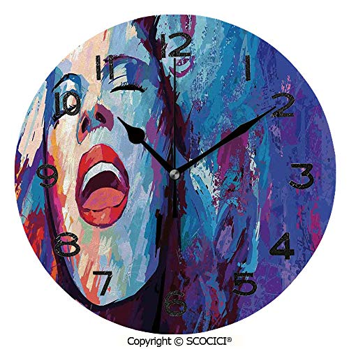 SCOCICI 10 Inch Round Face Silent Wall Clock Illustration of Singer On Grunge Background Performing Singing Woman Image Unique Contemporary Home and Office Decor