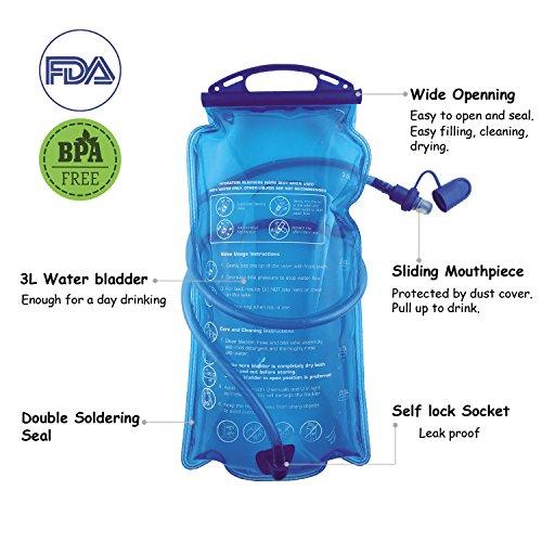 Hydration Bladder, 3L Water Bladder BPA Free, 3 liter Large Opening Water Reservoir, Leak Proof Military Insulated Water Storage Bladder Bag for Cycling Hiking Camping Biking Running Climbing Walking by Joyhill (Image #1)