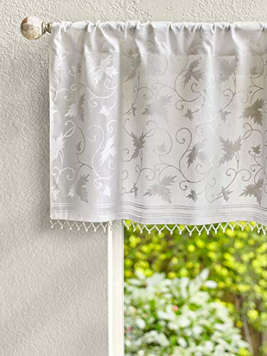 Saffron Marigold - Ivy Lace - White on White Country Cottage Floral Hand Printed - Beaded Sheer Cotton Voile Window Valance Curtain - Rod Pocket - (46