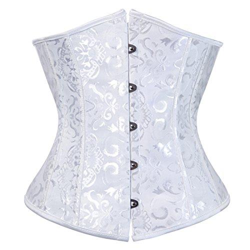 Brocade Cinch - Zhitunemi Women's Lace Up Boned Jacquard Brocade Waist Training Underbust Corset Medium White