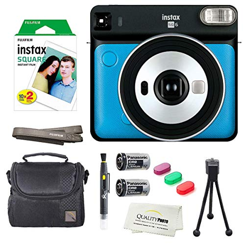 Fujifilm Instax Square SQ6 Instant Film Camera(Metallic Blue)+2 Pack of 10 Instax Square Films+ Camera Bag, Tripod, 2in1 Spray & Brush Lens Pen, and Quality Photo Microfiber Cloth (Metallic Blue)