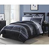 Twin Comforter Set 6 Piece Complete Bedding Set Blue Gray Stripe