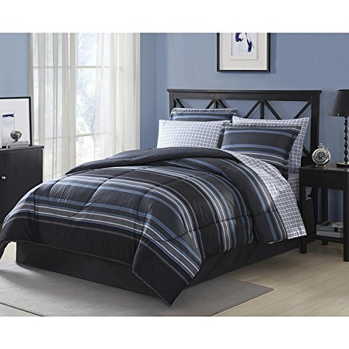 Blue Gray Striped Comforter Set Full Size Bedding Set 8 Piece Comforter Set -