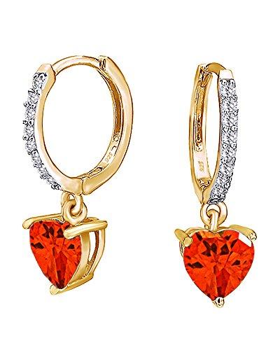 Garnet Birthstone Heart Earrings - Simulated Birthstone Heart Huggie Hoop Earrings In 14K Yellow Gold Over Sterling Silver