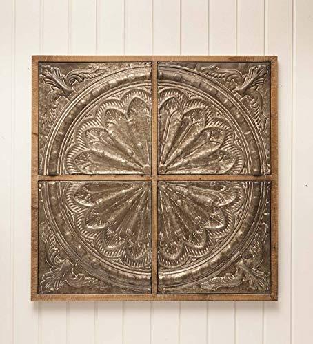 - Plow & Hearth Galvanized Metal Medallion Wall Art - 34.5'' sq. x 1.75''D