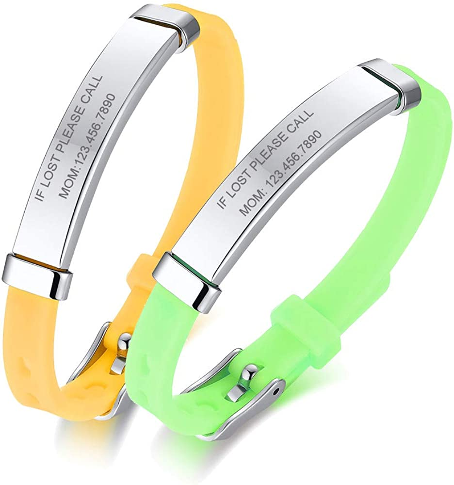 PJ JEWELLERY Pack of 2 Assorted Color Personalised Stainless Steel Soft Silicone Child Safety ID Bracelets Adjustable Anti-Lost ID Wristbands for Kid Girls Boys