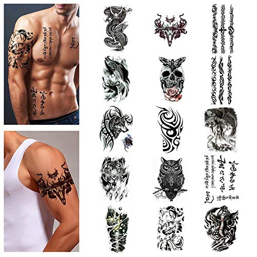 Himoc Temporary Tattoos Stickers 15 Sheets,Sleeves Tattoo Fake Body|Arm|Shoulder|Chest Tattoos for Men|Women