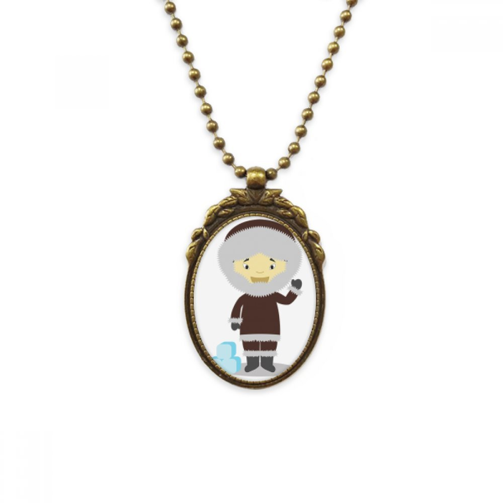 DIYthinker Cold Jacket Greenland Cartoon Antique Brass Necklace Vintage Pendant Jewelry Deluxe Gift
