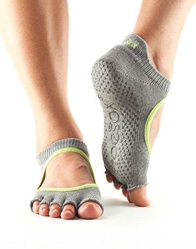 ToeSox Women's Bella Half Toe Grip Non-Slip for Yoga, Pilates, Barre, Ballet Toe Socks (Heather Grey/Lime Trim) (Organic Cotton Toe Socks)