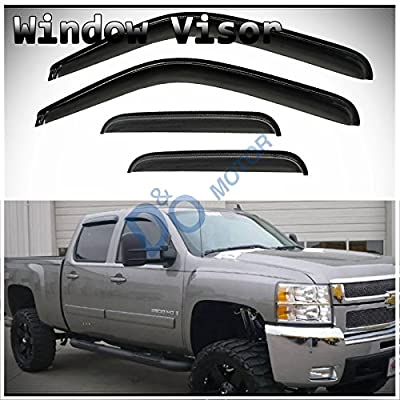 D&O MOTOR 4pcs Front+Rear Smoke Sun/Rain Guard Outside Mount Tape-On Window Visors for 07-14 Chevy/GMC Avalanche Suburban Yukon XL Silverado Sierra 1500 2500 3500 HD Crew Cab: Automotive