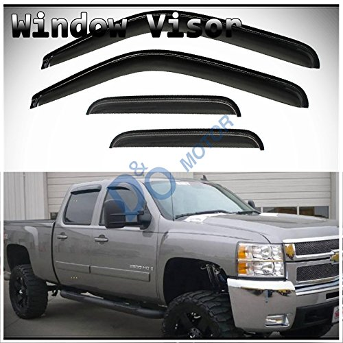Chevy Truck Door Pickup 3500 (D&O MOTOR 4pcs Front+Rear Smoke Sun/Rain Guard Outside Mount Tape-On Vent Shade Window Visors For 07-14 Chevy/GMC Avalanche Suburban Yukon XL Silverado Sierra 1500 2500 3500 HD Crew Cab)