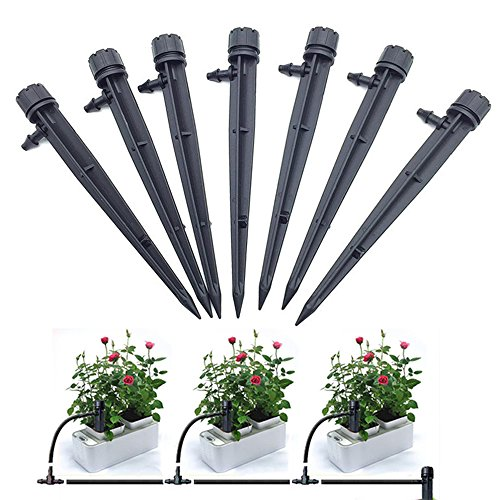 Oubest 25 PCS Irrigation Drippers Drip Irrigation Emitters Stake Adjustable Micro Water Flow 360 Degree Drip System for 1/4