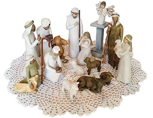 Irish Nativity Scene (Willow Tree Christmas Themed Figurines with Westbraid Doily (Nativity Scene Bundle))