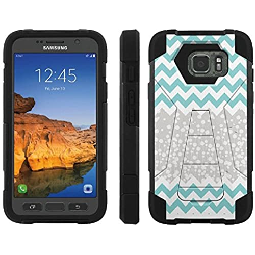 AT&T [Galaxy S7 Active] ShockProof Case [ArmorXtreme] [Black/Black] Hybrid Defender [Kickstand] - [Teal Chevron Nature] for Samsung Galaxy [S7 Active] Sales