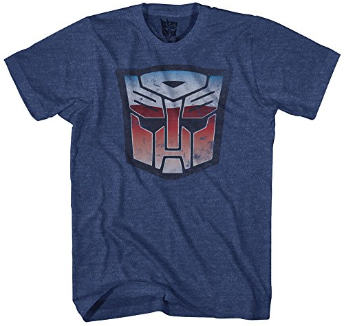 Transformers Men's Stressed Short Sleeve T-Shirt, Navy Heather, 2XL