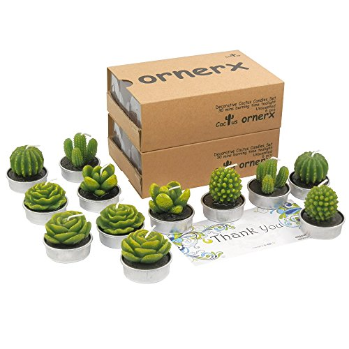 ornerx 12 Pcs Decorative Cactus Tealight Candles for Birthday Party Wedding Spa Home Decor]()