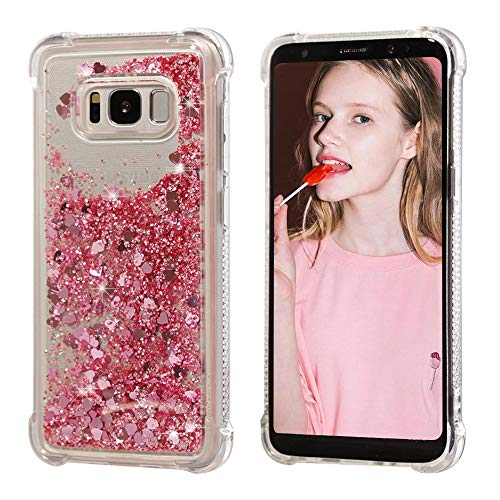 Samsung Galaxy S8 Plus Case, AUMIAU Flowing Floating Liquid Glitter Bling Pretty Cute Lovely Soft TPU Shockproof Flexible Cases Cover for Galaxy S8 Plus / S8+(Rose Gold)