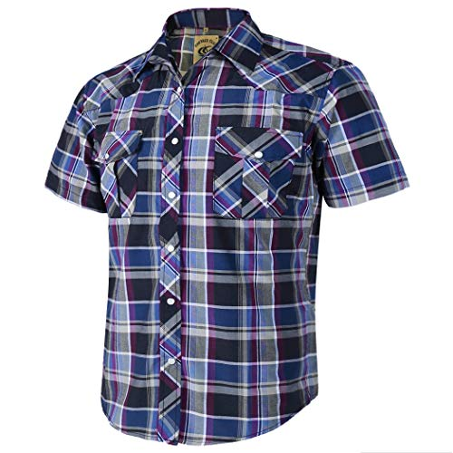 (Coevals Club Men's Short Sleeve Casual Western Plaid Snap Buttons Shirt (XL, 14# Gray, Purple) )