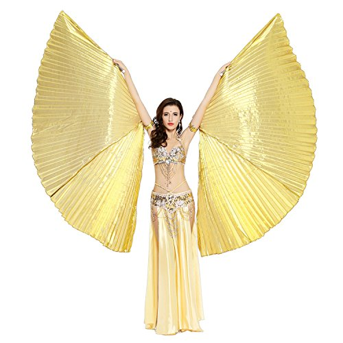 Dance Fairy Isis Wings Belly Dance with Sticks,Gold