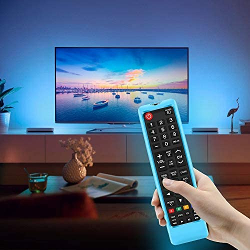 2Pack Silicone Protective Case Sleeve for Samsung TV Remote,Samsung BN59-01315A BN59-01199F AA59-00666A BN59-01301A Remote Holder Skin,Shockproof Samsung Remote Bumper Back Cover-Glowblue Glowgreen