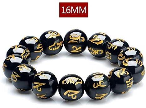 Wuwei Feng Shui Natürliche Stein Schwarz Obsidian Armband Chinesisches Armband Sechs Zeichen Schwarzen Amulett Obsidian Armband für Wohlstand und Glück