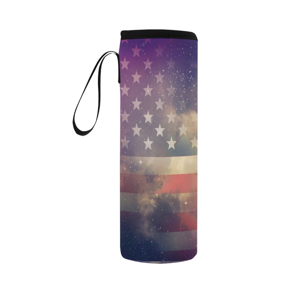 InterestPrint Ameircan Flag Galaxy Stars Neoprene Water Bottle Sleeve Insulated Holder Bag 16.90oz-21.12oz, USA Flag Nebula Sport Outdoor Protable Cooler Carrier Case Pouch Cover with Handle