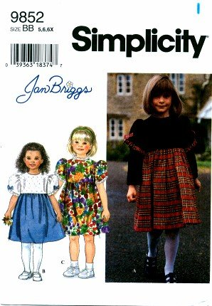 Simplicity 9852 Sewing Pattern Girls Jan Briggs Dress Size 5 - 6X