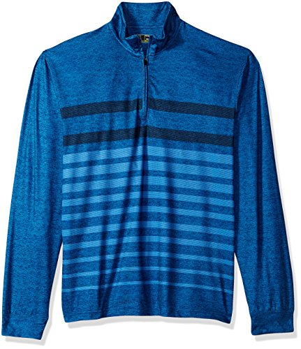 PGA TOUR Men's Long Sleeve 1/4 Zip Pullover, Heather Striped Olympian Grey, M ()