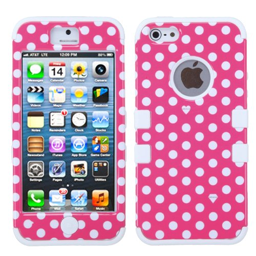 Dots Pink on White TF Skin Hybrid Apple iPhone 5 Hard Rubber Protector Cover Case fits Sprint, Verizon, AT&T Wireless
