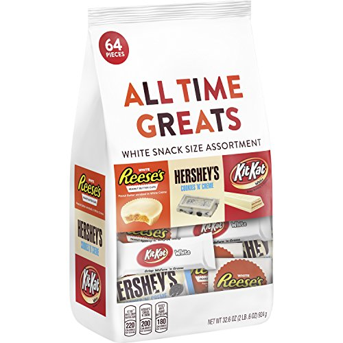 HERSHEY'S All Time Greats White Crème Candy Snack Size Assortment, 64 Pieces (Christmas White Chocolate Treats)