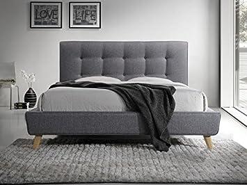 lit complet sevilla au style scandinave en tissu gris et pied en bois 160x200 avec sommier - Lit 160x200 Avec Sommier