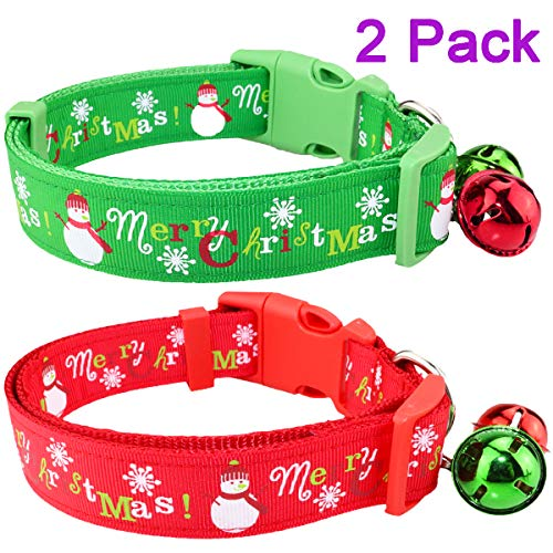 "Aiwind 2 Pack Adjustable Festive Christmas Holiday Pet Dog Cat Collars with 2 Bells (B, 13""-19"")"