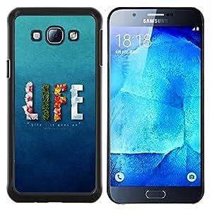 EJOOY---Cubierta de la caja de protección para la piel dura ** Samsung Galaxy A8 A8000 ** --Vida floral Elementos de Bomberos texto azul