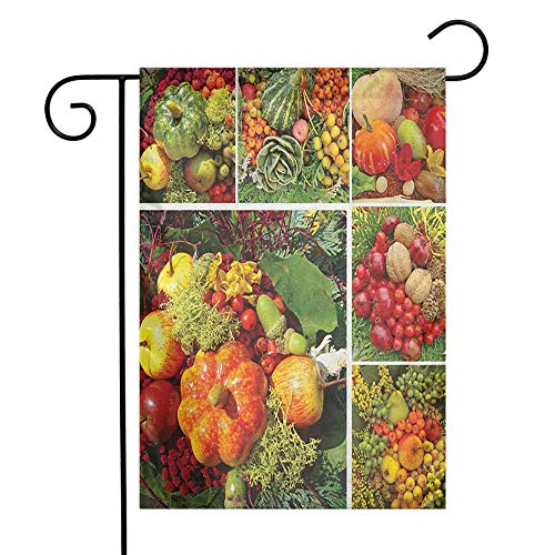 duommhome Harvest Garden Flag Photograph of Products from Various Gardens and Fields Seasonal Foods Apple Walnuts Premium Material W12 x L18 Multicolor