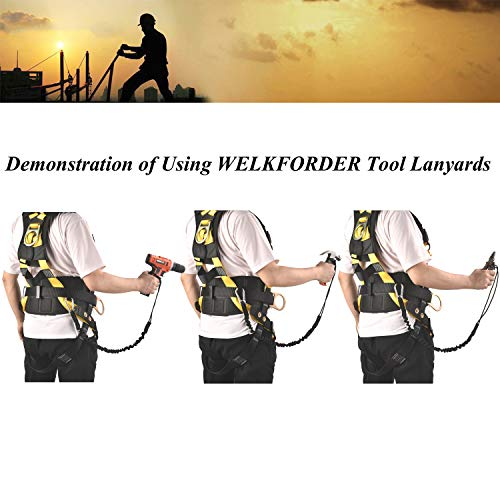 3-Pack Energy-absorbing Tool Lanyard Upgraded 15 lbs Maximun Working Capacity Single Alloy Steel Self-locking Carabiner with Shock Cord Stopper by WELKFORDER (Image #5)