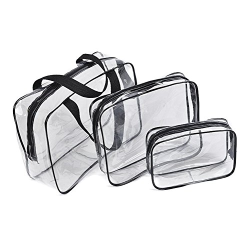 Toiletry Sundry Bag, Waterproof Transparent Gym Tote Bag, Clear Toiletry Kit Organizer Bag with Security Zipper for Travel Accessories and Cosmetic Wash Bath Supplies