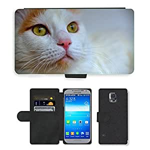 CARD POCKET BOOK CASE PU LEATHER CASE // M00103870 La cara del gato Van turco blanco Mascotas Gato // Samsung Galaxy S5 S V SV i9600 (Not Fits S5 ACTIVE)