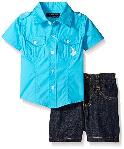 2 Piece Short Set Denim (U.S. Polo Assn. Baby Boys' 2 Piece Poplin Shirt and Denim Short, Blue Sea, 3-6)