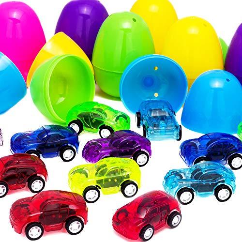 SANGU 12 Packs Die-Cast Car Filled Big Easter Eggs, 3
