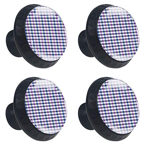 (Anmarco Purple Blue Plaid Checked Drawer Knobs Pull Handles 30MM 4 Pcs Glass Cabinet Drawer Pulls for Home Kitchen Cupboard)