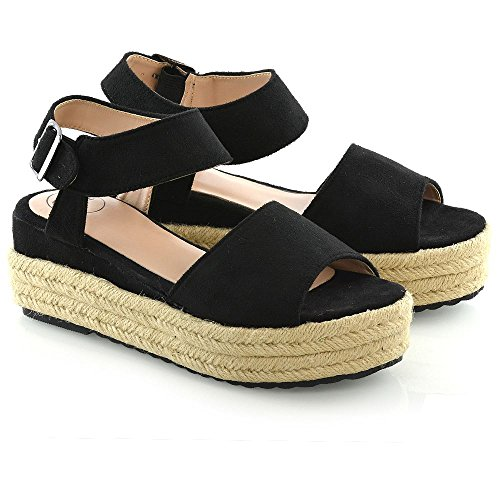 ESSEX GLAM Womens Espadrilles Wedge Platform Heel Ladies Peep Toe Summer Sandals Size 3-8 Black L3fTw